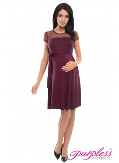 Lace Panel Dress D004 Plum