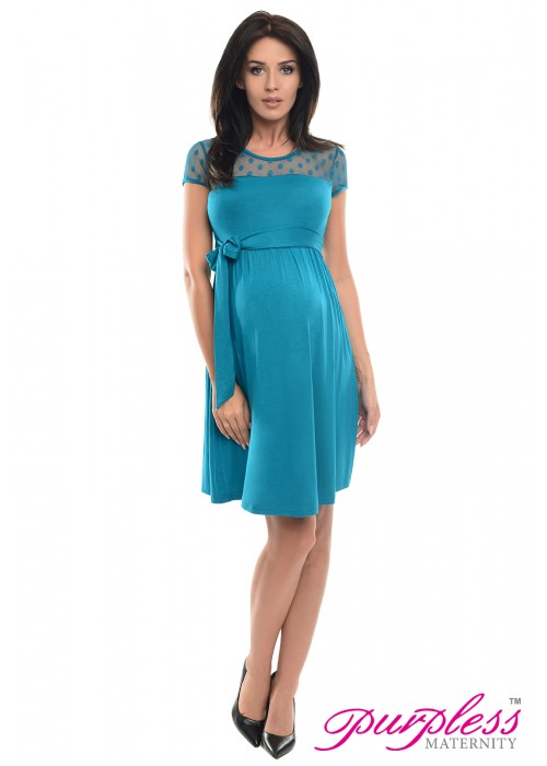 Lace Panel Dress D004 Turquoise