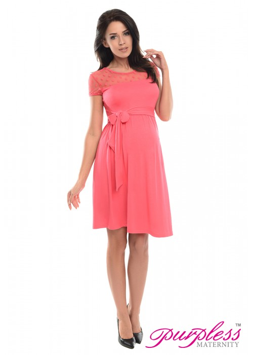 Lace Panel Dress D004 Raspberry