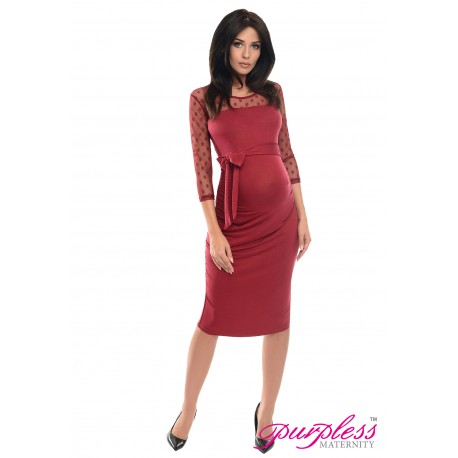 Ruched Bodycon Dress D008 Burgundy