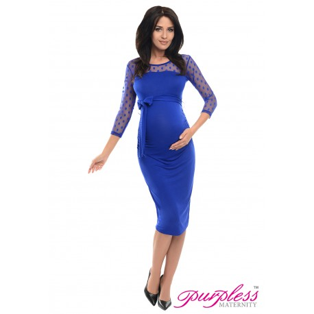 Ruched Bodycon Dress D008 Royal Blue