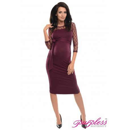 Ruched Bodycon Dress D008 Plum