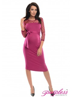 Ruched Bodycon Dress D008 Dark Pink