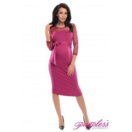 Ruched Bodycon Dress D008 Dark Pink