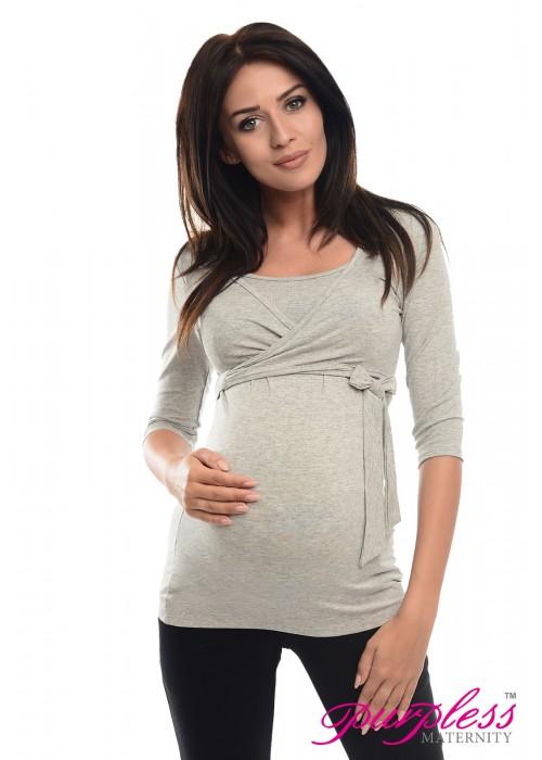 2in1 Maternity & Nursing 3/4 Sleeved Wrap Top 7035 Light Gray Melange
