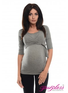 2in1 Maternity & Nursing 3/4 Sleeved Wrap Top 7035 Dark Gray Melange
