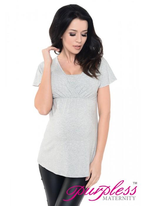 2in1 Maternity & Nursing Top 7042 Light Gray Melange