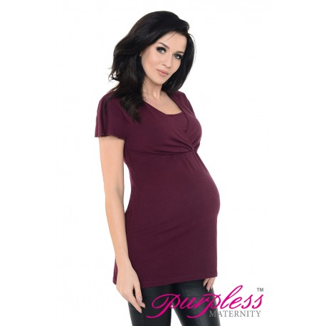 2in1 Maternity & Nursing Top 7742 Plum