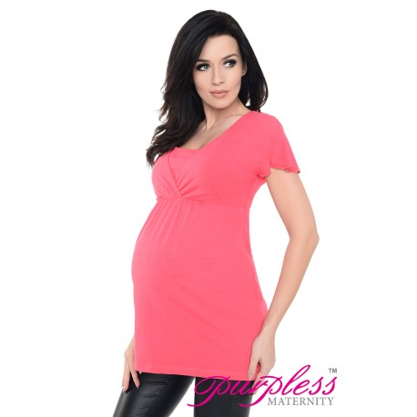 2in1 Maternity & Nursing Top 7742 Raspberry