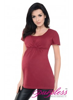2in1 Maternity & Nursing Top 7742 Burgundy