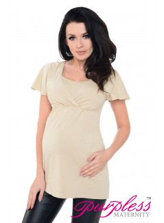 2in1 Maternity & Nursing Top 7742 Beige