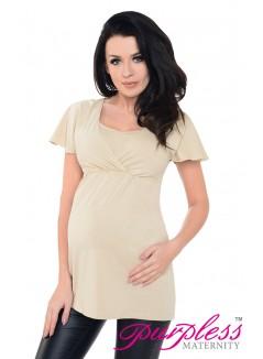 2in1 Maternity & Nursing Top 7742 Beige