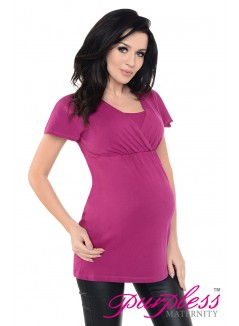 2in1 Maternity & Nursing Top 7742 Dark Pink