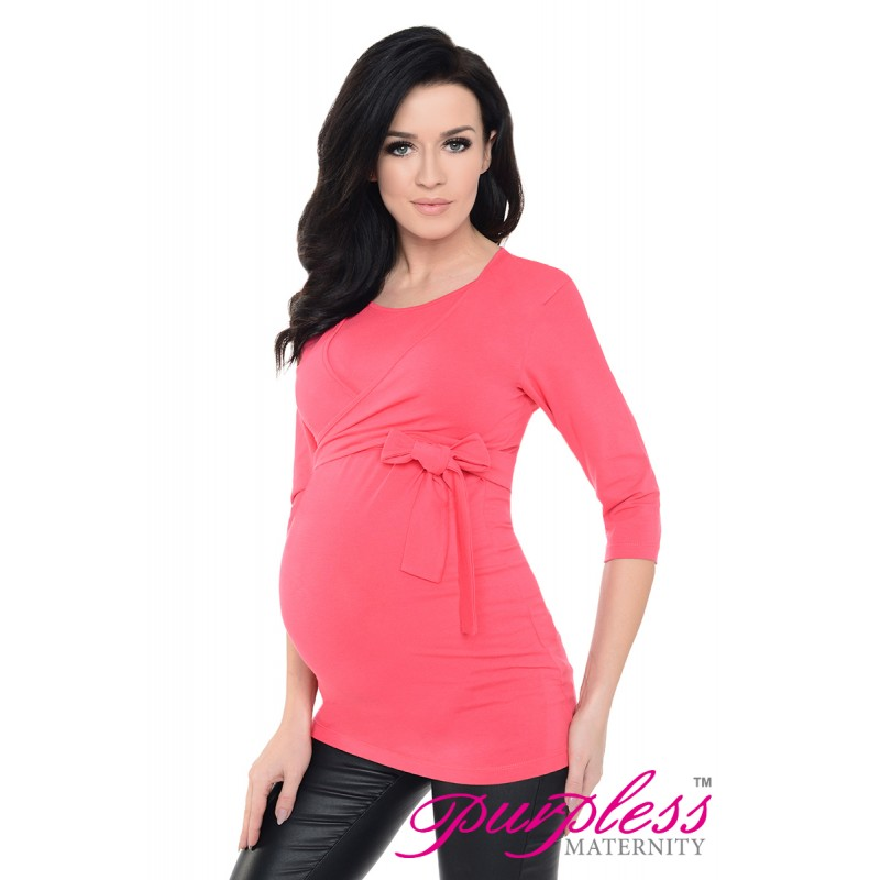 e1aa33b993c25 2in1 Maternity and Nursing Cotton Wrap Top 7735 Raspberry