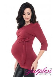 Maternity Nursing Cotton Wrap Top 7735 Burgundy