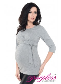 Maternity Nursing Cotton Wrap Top 7735 Gray2 Melange