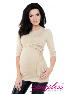 Maternity Nursing Cotton Wrap Top 7735 Beige