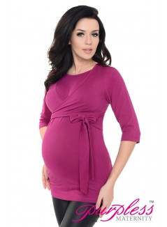 Maternity Nursing Cotton Wrap Top 7735 Dark Pink