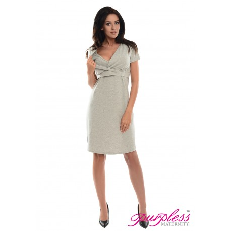 Pregnancy and Nursing Dress 7208 Light Gray Melange