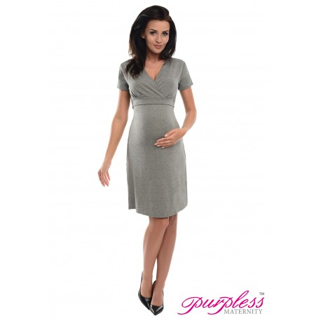 Pregnancy and Nursing Dress 7208 Dark Gray Melange