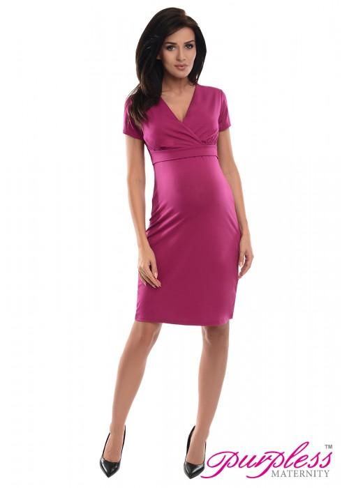 e9ec4993033c5 Purpless 2in1 Pregnancy and Nursing Dress 7208 Dark Pink