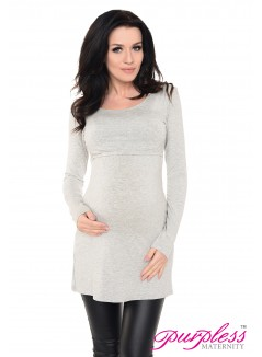 2in1 Maternity & Nursing Scoop Neck Tunic Breastfeeding 7021 Light Gray Melange