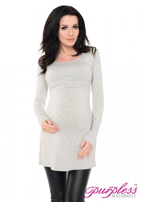 2in1 Maternity & Nursing Scoop Neck Tunic Breastfeeding 7021 Light Gray Melange