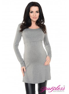 2in1 Maternity & Nursing Scoop Neck Tunic Breastfeeding 7021 Dark Gray Melange