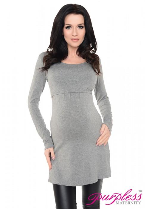 2in1 Maternity & Nursing Scoop Neck Tunic Breastfeeding 7021 Dark Gray Melange