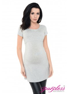 Nursing Short Sleeved Top 7020 Light Gray Melange