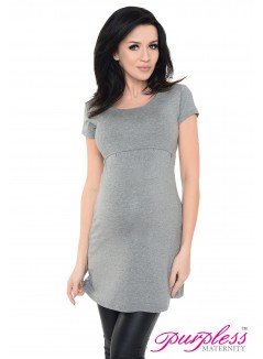 Nursing Short Sleeved Top 7020 Dark Gray Melange