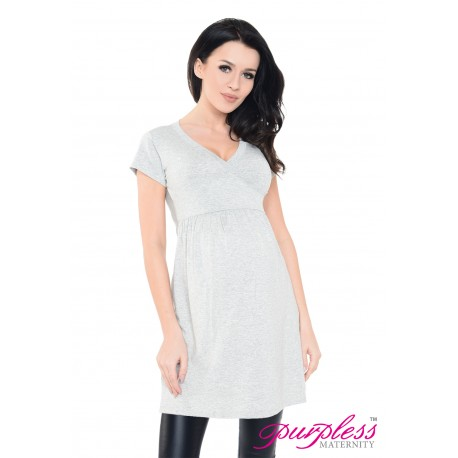 Tunic V-neck 5058 Light Gray Melange