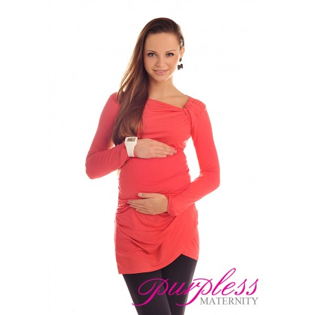 Asymmetric Neck Tunic 6053 Coral