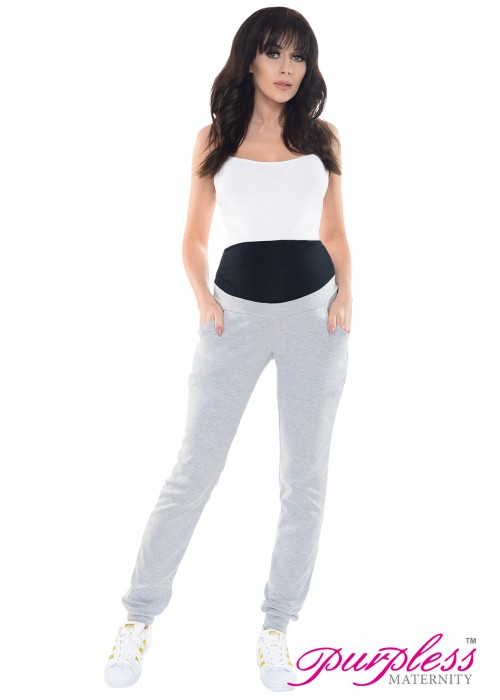 Elasticated Belly Band Trousers 1321 Light Gray Melange