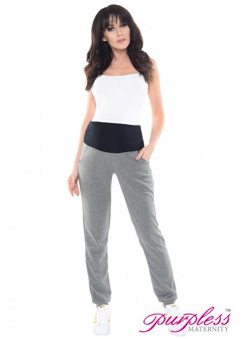 Elasticated Belly Band Trousers 1321 Dark Gray Melange