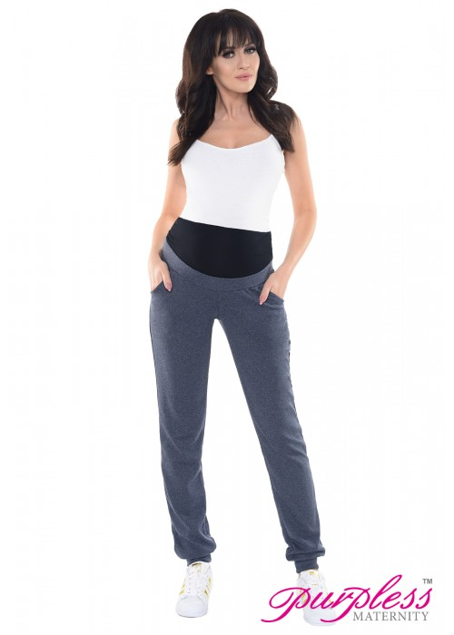 Elasticated Belly Band Trousers 1321 Navy Melange