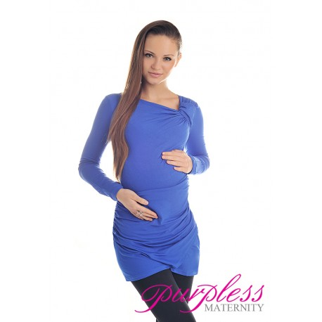 Asymmetric Neck Tunic 6053 Royal Blue