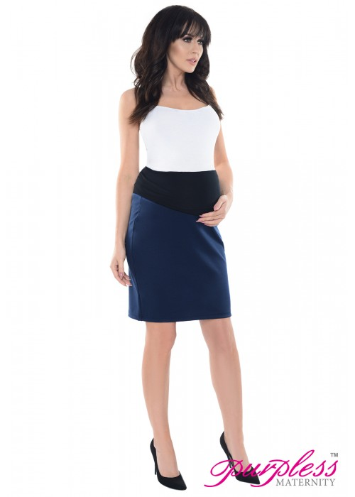 b2d03c2f953bc Purpless Maternity Pregnancy Formal Pencil Skirt 1504 Navy