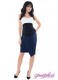 Formal Asymmetric Skirt 1508 Navy