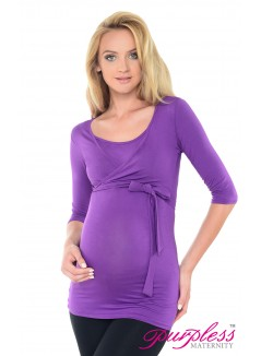 2in1 Maternity & Nursing 3/4 Sleeved Wrap Top 7035 Violet