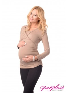2in1 Maternity & Nursing V Neck Top 7014 Cappuccino