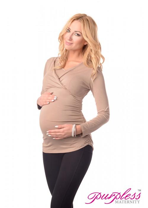 2in1 Maternity & Nursing V Neck Top 7014 Cappuccino