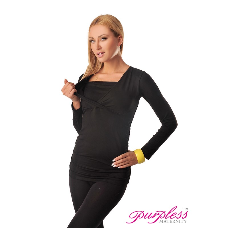 e162cbec7a58a 2 in 1 Maternity and Nursing Top 7007 Black - Purpless Ltd