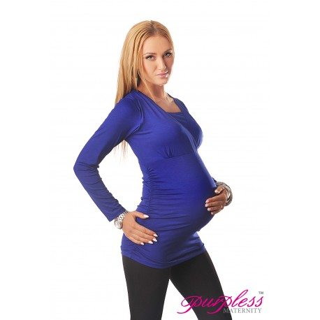 2 in 1 Maternity and Nursing Top 7007 Royal Blue