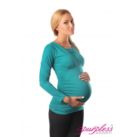 2 in 1 Maternity and Nursing Top 7007 Turquoise