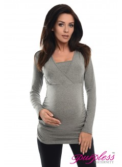 2 in 1 Maternity and Nursing Top 7007 Dark Gray Melange