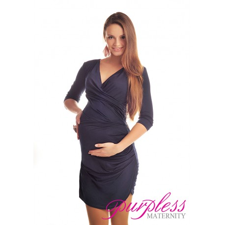 Ruched Side Dress 6408 Navy