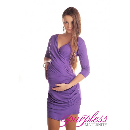 Ruched Side Dress 6408 Violet