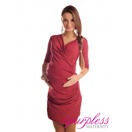 Ruched Side Dress 6408 Burgundy