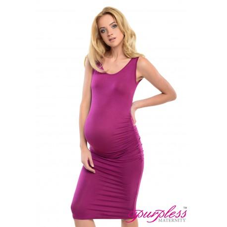 Sleeveless Jersey Midi Dress D8130 Dark Pink